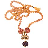 RUDRADIVINE Self Certified Damru Design Kavach Mala 5 Face Brown Rudraksha