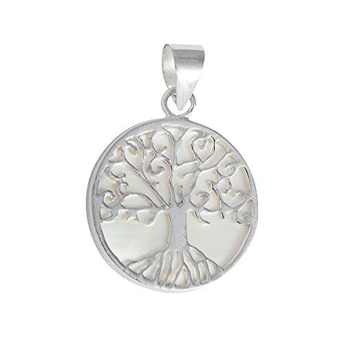 Perlmutt Anhänger 925 Sterlingsilber rund Blume Baum des Lebens Muschel Silber unisex Damen Herren...