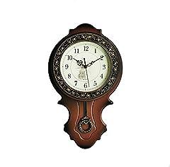 Idea Regalo - Tikwisdom retro stile europeo imitazione legno pendolo orologio da parete, movimento al quarzo silenzioso in plastica, struttura principale, spazzolato oro metallizzato vernice struttura superficie sul perimetro