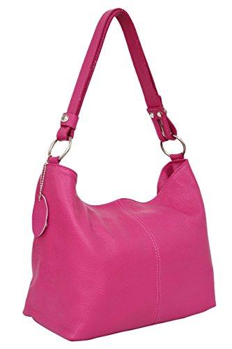 AMBRA Moda Damen Leder Handtasche Schultertasche Umhängetasche Hobo bag GL005 (Pink) - Fach-leder Tasche