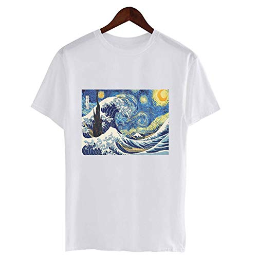 Harajuku Fashion Van Gogh Art Oil Painting Printed Tshirts Women Vintage Short Sleeve Casual Vogue Graphic Tees Shirt Femme Tops 1217 L -