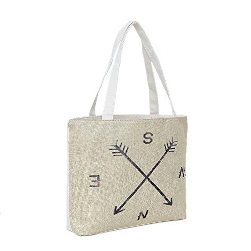 Bolsa de playa 46 x 32 x 10 cm motivo compás color natural-yute shopper bolsa de hombro estilo de segunda mano
