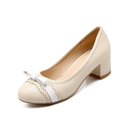 Damen Gemischte Farbe Stiletto Ziehen auf Rund Zehe Pumps Schuhe, Aprikosen Farbe, 38 VogueZone009
