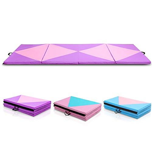 COSTWAY Weichbodenmatte Gymnastikmatte Yogamatte Turnmatte Klappmatte Fitnessmatte klappbar tragbar 300x120x5cm (lila)