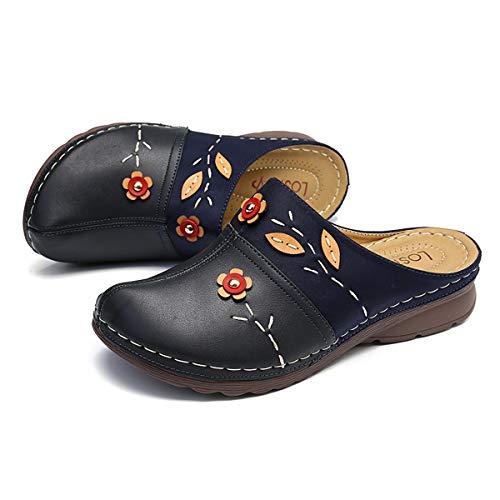 Gracosy Zuecos para Mujer Cuero Verano Loafer Tacón Bajo Mules Planos Zapatos Zapatillas de Playa Antideslizantes...