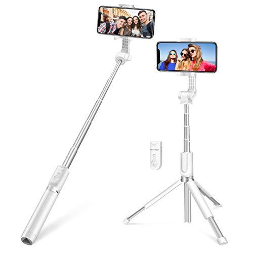 Bluetooth Selfie Stick, BlitzWolf 90cm Erweiterbarer Selfie Stang Stab mit Bluetooth-Fernauslöse und Stativ für Android Samsung Galaxy 3.5-6 Zoll Smartphones(Erweiterte Version-Weiß)
