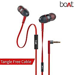 Audio Palace, boAt Bass Heads 225 In-Ear Bass Headphones with One Button Mic (Red)