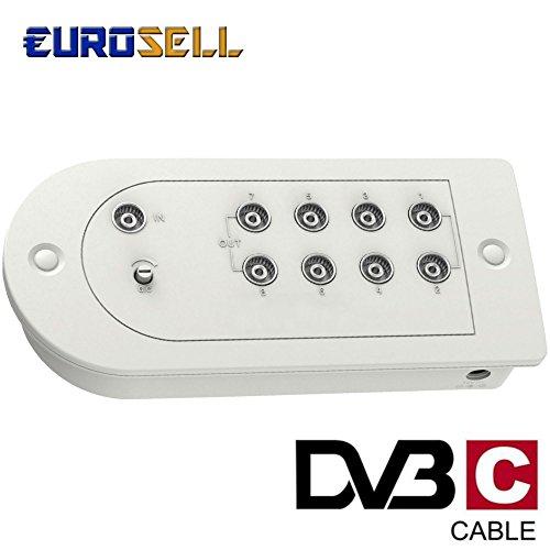 Eurosell Kabel Fernsehen 8 Geräte Verstärker FULL HD Digital TV-Verstärker 15dB mit 8 Ausgängen - Für DVBC DVB-C zb Unitymedia Telecolumbus NetCologne - 8 Teilnehmer NetAachen Vodafone Primacom
