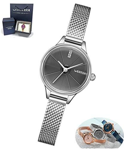 DUABOBAO Damen Quarz-Uhr, Ultradünne Analoge Quarz-Edelstahl-Rose Gold, Einfache Lässige Uhr Damen, Wasserdichte Damen-Uhr + Professionelle Verpackung Geschenkbox,Silver