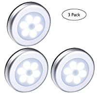 Yooap 3 Pack LED Motion Sensor Night Light, 6 LED Lamp Wireless Battery Powered Night Lights with 3M Adhesive Magnetic for Wardrobe, Stairs, Washroom, Storage Room etc [Energy Class A+]