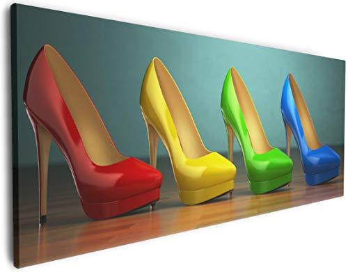Wallario Leinwandbild Bunte Schuhe - High Heels für Frauen - 50 x 125 in Premium-Qualität:...