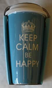 Keep Calm & Be Happy Take Away Ceramic Travel Mug ,Thermal Insulated Mug