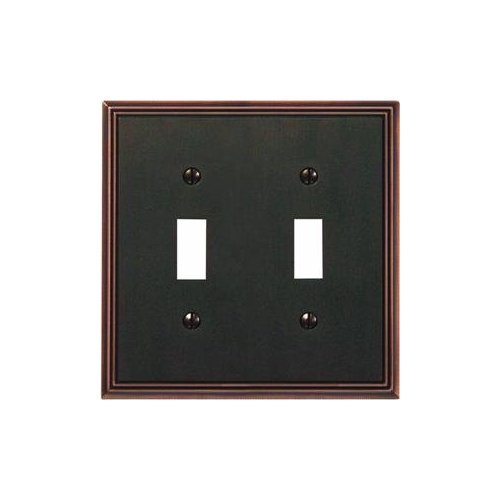 Metroline Antique Bronze Switch Wall Plate-AB 2-TOGGLE WALLPLATE -
