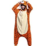 ZBSPORT Tiger Jumpsuit Tier Cartoon Fasching Halloween Kostüm Sleepsuit Cosplay Fleece-Overall Pyjama Schlafanzug Erwachsene Unisex
