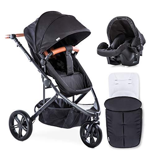 Hauck/Pacific 3 Shop N Drive / 7 teiliger Kombi Kinderwagen/Babyschale Gr. 0/ Babywanne umbaubar/drehbarer Sitz/Matratze/Beindecke/Fußsack/höhenverstellbarer Schieber/leicht/Caviar (Schwarz)