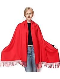 GWELL Capes Ponchos Femme Echarpe Couleur Pure Châle Chaud Tricot 7a7b90c6bd2