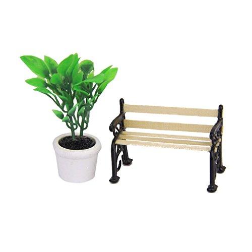 Miniatur Möbel Garten/Village Terrasse Park Bench für 1/24Puppenhaus