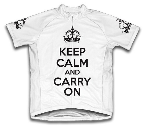 KEEP CALM AND CARRY ON CICLISMO CAMISETA DE MANGA CORTA PARA HOMBRE BLANCO BLANCO TALLA:XXXXL