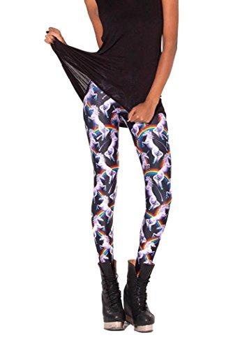 Molly Damen Einhorn Und Regenbogen-Muster Leggings Freie Größe Weiß