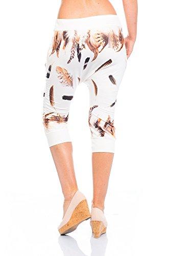 Damen Sweathose Jogginghose Freizeit Sport Caprihose Capri Hose Pants Jogging Joggpants Haremhose Baggy Printhose Print Skinny mit angesagten Federn-Muster weiß Capri