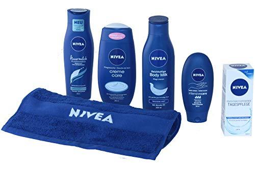 NIVEA Verwöhnpflege, Geschenkset für SIE 6-tlg, mit Haarmilch, Body Milk, Pflegedusche, Handcreme, Tagespflege & NIVEA Handtuch