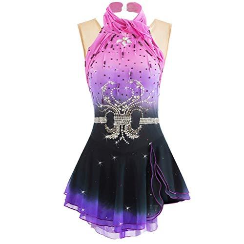 YunNR Ärmellos Strass Eiskunstlauf Performance Kostüm für Damen Eislaufen Tanzkleid Halo-Färben Elasthan Wettbewerb Gymnastik Kleider,Rose,8 (Günstige Halo Kostüm)