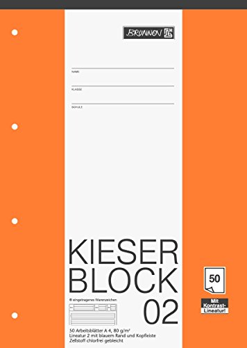 Brunnen 1042942 KIESER-Block Lineatur 2 (A4, 50 Blatt, gelocht, 80 g/m², Klasse 2) - Block