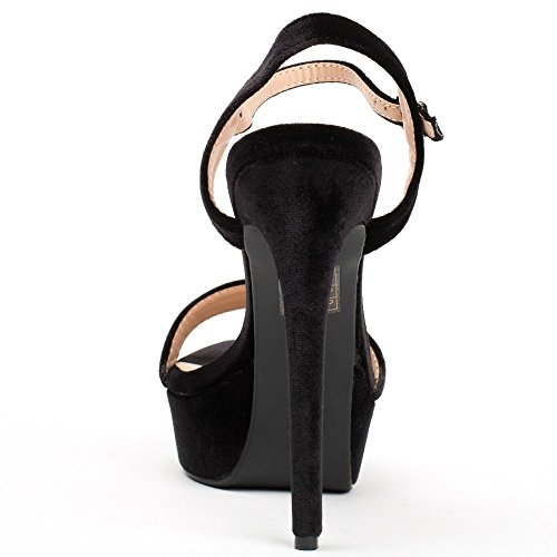 Ideal Shoes Sandales Effet Velours Helena Noir
