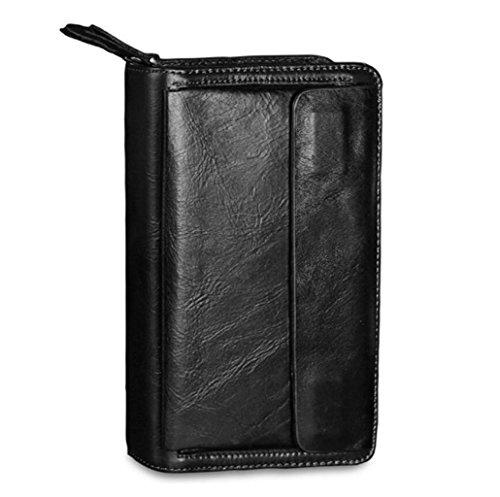 Herren Clutch Wallet Double Zipper Clutch Leder Business Ordner Brieftasche Herren Geschenkbox (Farbe : Schwarz)