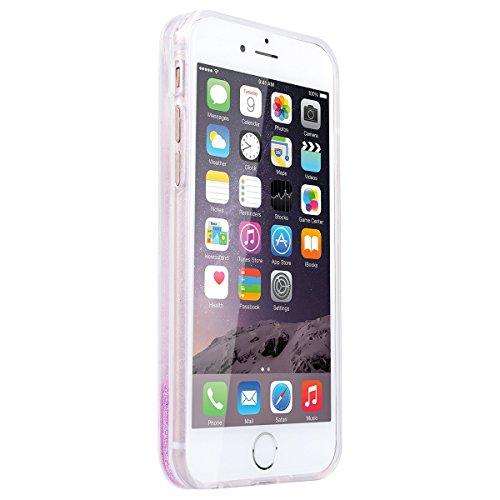 GrandEver iPhone 6 Plus/iPhone 6S Plus Hardcase Hülle (TPU Weiche Rahmen & PC Hart Zurück) Glitter Glitzer Hartschale Eis Rosa Liquid Fließen Flüssig Schwimmend Grad Schutz Transparent Rückschale Dyna Eis Rot