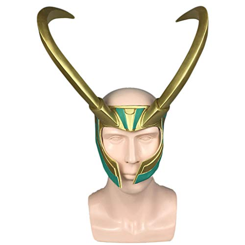 The Kostüm Avengers Loki - QWEASZER Marvel Avengers Loki Helm mit Hörnern Thor Ragnarok Loki Maske für Halloween Cosplay, PVC Material,Loki Helmet-OneSize