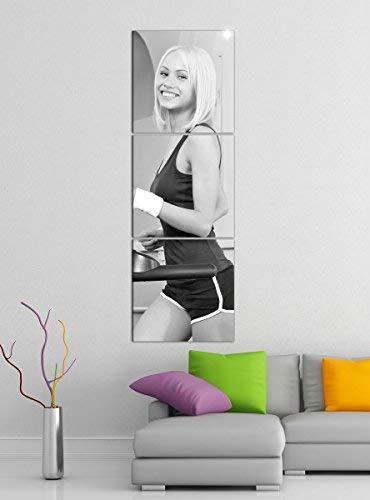 Leinwandbild 3tlg Training Stepper Fitness Mann Frau schwarz weiß Bilder Druck auf Leinwand Vertikal Bild Kunstdruck mehrteilig Holz 9YA5579, Vertikal Größe:Gesamt 40x120cm