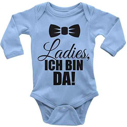 Mikalino Babybody mit Spruch für Jungen Mädchen Unisex Langarm Ladies, ich Bin da! | handbedruckt in Deutschland | Handmade with Love, Farbe:Sky, Grösse:56 (Lady Geburt Kostüm)