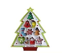 Idea Regalo - Set di 8 stampini 3D per biscotti in acciaio inox con albero di Natale, pupazzo di neve, cervi e slitta, forme per festa di Natale, bambini, Acciaio inossidabile, Silver, 10 pezzi