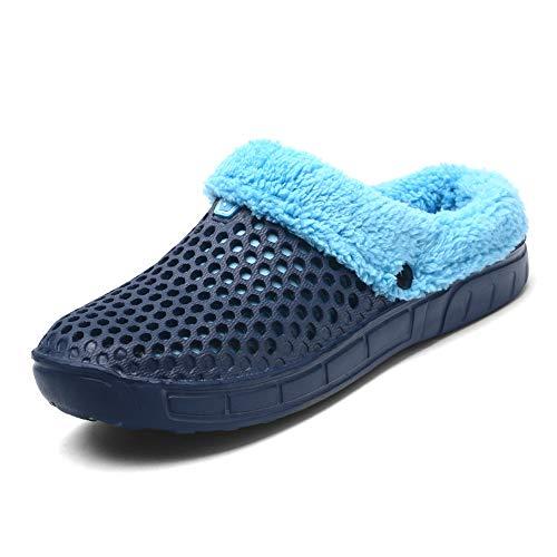 LANSEYAOJI Zuecos Zapatillas Hombres Mujer Zapatos de Jardín Otoño Invierno Cálido Pantuflas de Casa Unisex Antideslizantes Slippers Suave Interior Al Aire Libre Algodón Pantuflas,Azul Oscuro,EU42