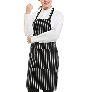 MultiWare Plain Apron Two Front Pocket Chefs Butchers BBQ Kitchen Cooking Craft Baking Black Stripe