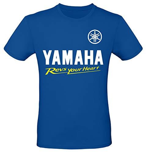 Print & Design T-Shirt Maglietta Yamaha Personalizzata (m, Blu)