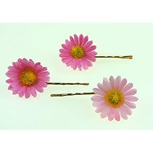 clarigo Haarnadeln Haarklammern Haarklemme Margerite Gänseblümchen pink rose Hochzeit Kommunion Blumen Blumenmädchen