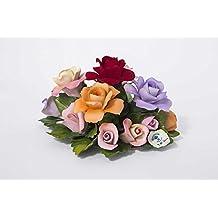 Composizione fiori porcellana, bouquet di rose fatto e decorato a mano, da Unionporcelain col marchio Napoleon in finissima porcellana Capodimonte 100% Made in Italy