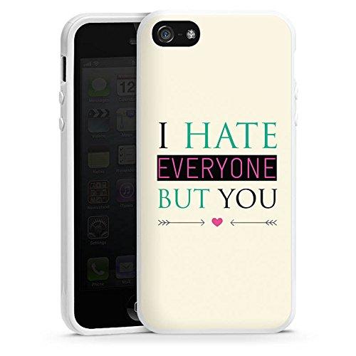 Apple iPhone 4 Housse Étui Silicone Coque Protection Phrase Amour haine C½ur Housse en silicone blanc
