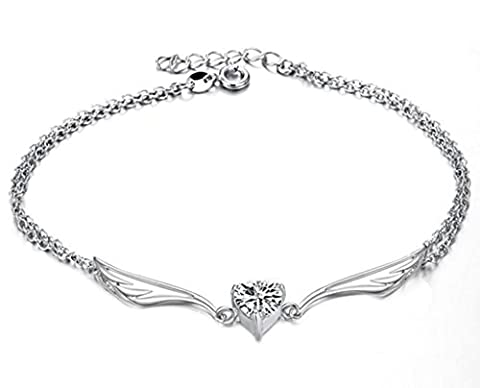 Aienid White Gold Plated Heart CZ Wing Pendant Double Rolo Chain Silver - Anklet for Women & Girls