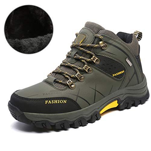 JHHXW Scarpe da Trekking Autunno e Inverno da Uomo Scarpe Calde Antiscivolo Scarpe di Cotone Traspirante Impermeabile Resistente all'Usura Escursionismo più Velluto all'aperto,pluscottongreen,270mm