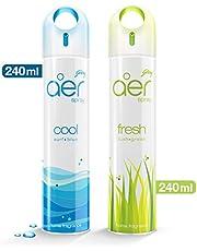 Godrej aer spray, Air Freshener - Cool Surf Blue & Fresh Lush Green (Pack of 2, 240 ml each)