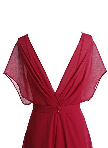 Bbonlinedress Robe de cérémonie et de soirée plissée style sexy col V manches chauve-souris longueur ras du sol en mousseline Blush