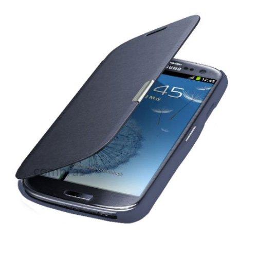 Q1 Samsung Galaxy S3 mini i8200n i8190 Flip Cover Blau/Blue Hülle Tasche Akkudeckel Flip Case inkl. Displayschutzfolie