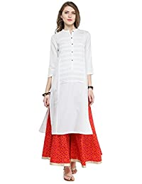 Varanga White Viscose Pleats/Solid Kurta With Palazzo VARSS165248_PZ21080 - B075P37FTV