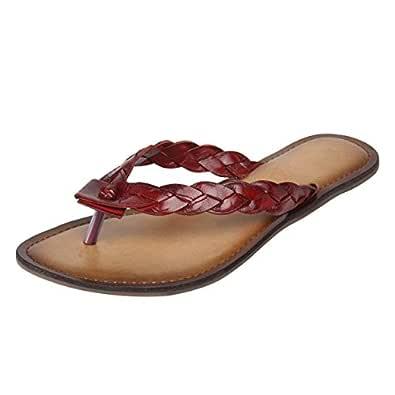 Catwalk Red Flat Slip-On Sandals