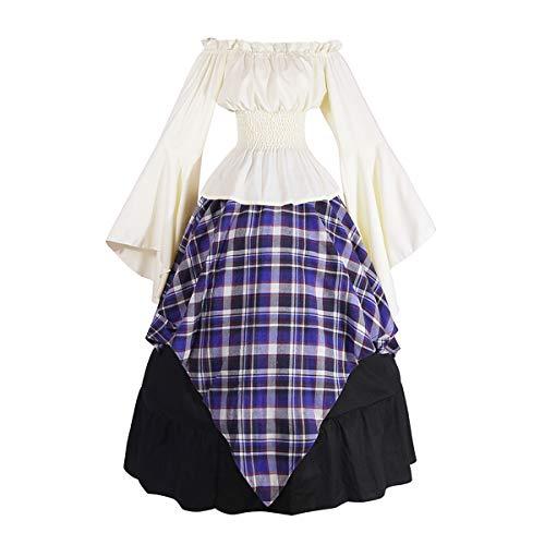 Nuoqi Mittelalterliches Kostüm Women Lange Ärmel Renaissance-Kleid (XL, gc229H-ns)