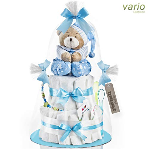 Timfanie® Windeltorte   Spieluhr (2-stöckig/baby-blau) vario