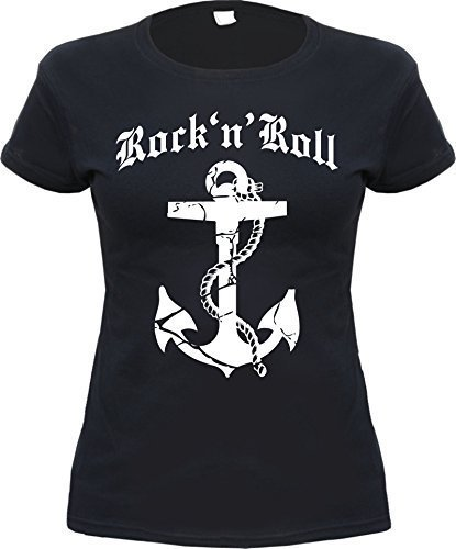 Rock 'N' Roll Anker Damen T-Shirt Schwarz M (T-shirt Anker-damen)